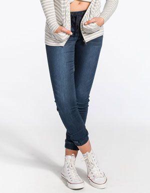ALMOST FAMOUS Crave Fame Womens Knit Denim Jogger Pants