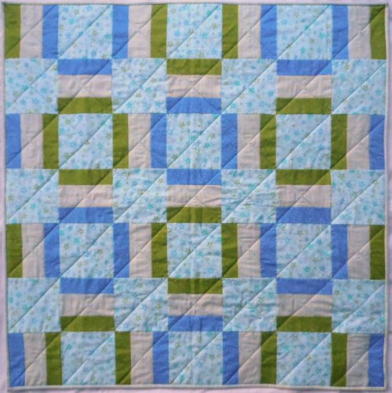 Stars and Plaid Quilt Aqua Quilt Green Quilt by QuiltedPleasures, $150.00
