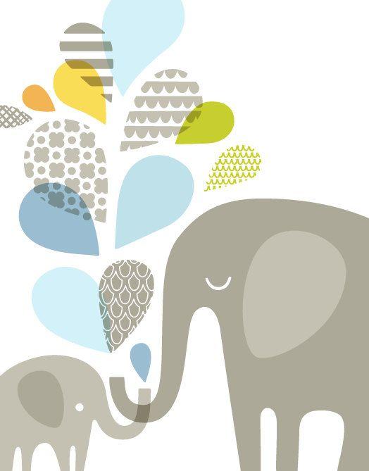 """20 x 24"""" elefante mamma & bambino ritratto formato stampa giclee su carta fine art. blu chiaro, morbido verde salvia, arancio, grigio."""