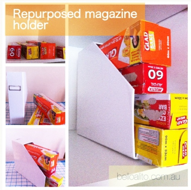 Repurposed magazine holder for use in the pantry. #organized #organise #pantry