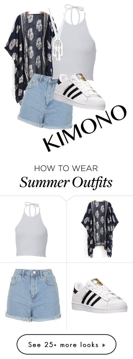 """Summer outfit"" by emely11 on Polyvore featuring Topshop, adidas, Lucky Brand and kimonos The Best of casual outfits in 2017."