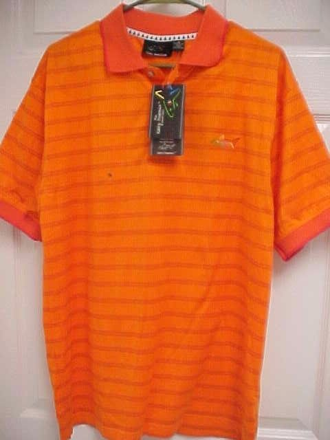 The GREG NORMAN Collection Men Orange Short Sleeve Golf Polo Shirt M New Tags #GregNorman #PoloRugby