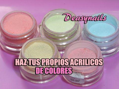 Haz tus acrilicos de colores - Cómo hacer acrilicos de color facil tutorial uñas Deasynails - YouTube