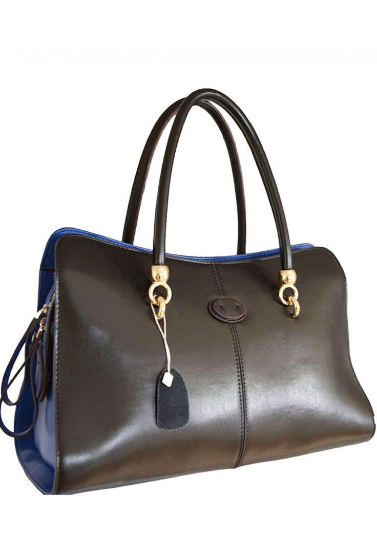 Adelynn Trudeau -- Women's Bi-Color Leather Handbag (Black & Blue)