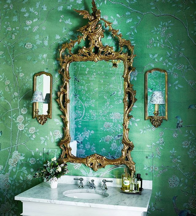 De Gournay green chinoiserie wallcovering powder room