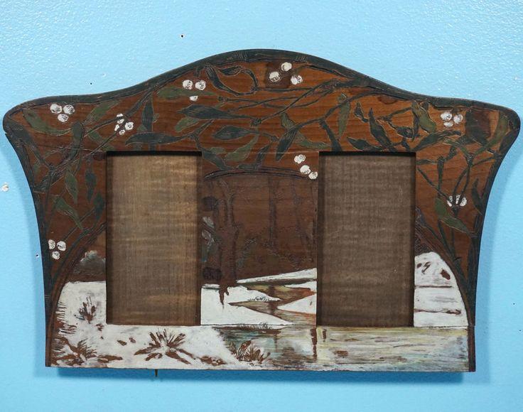 Antique German Art Nouveau Wood Carved Double Photo Frame Pyrograph Mistletoe #ArtNouveau