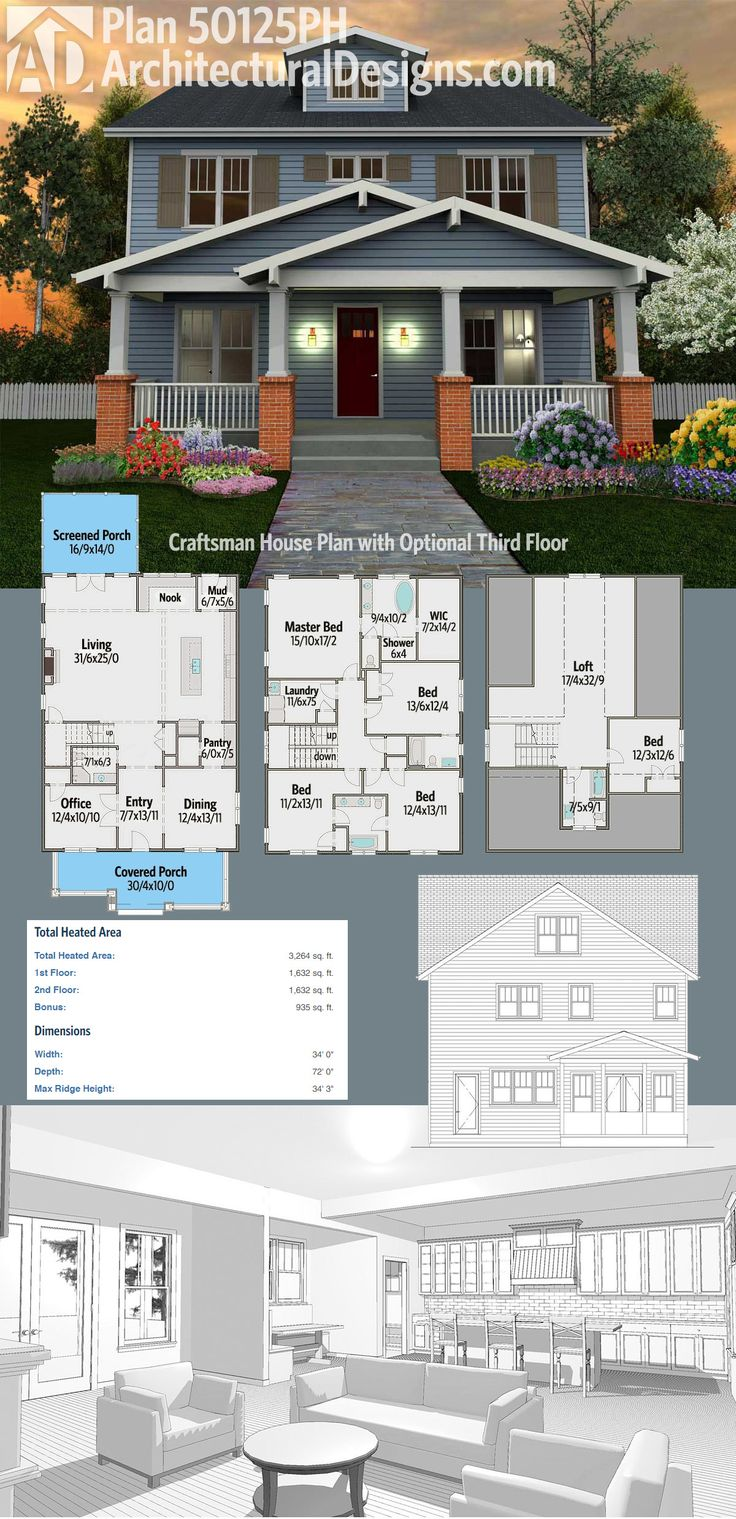 Architectural Designs Craftsman House Plan 50125PH has porches front and back, four beds on the second floor and over 3,200 square feet of heated living space. And with the optional third floor - included with the plans - you get a 5th bedroom and a bath and over 900 feet of expansion space. Ready when you are. Where do YOU want to build?