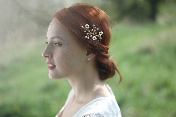 Bridal pearl hair pin - this hair vine is completely wired by hand with attention to detail. This woven pearl headpiece is made with fresh water