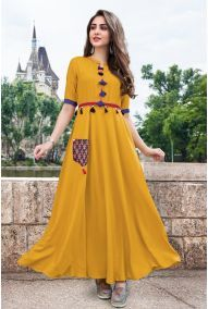 63dd53b29ba Wholesale Designer Office Wear Rayon Long Length Kurtis Cataloge ...