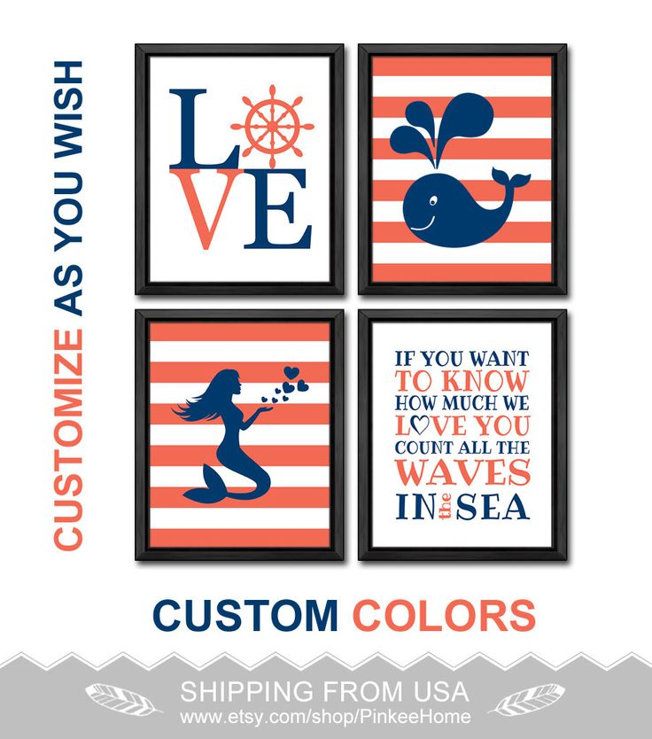 nautical girls room decor nautical love mermaid girl wall art count the waves nautical quote coral navy nursery decor baby girl nursery art by PinkeeHome on Etsy https://www.etsy.com/listing/212537159/nautical-girls-room-decor-nautical-love