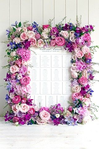 Purple and Pink Floral Frame for wedding escort cards designed by Phillipa Craddock