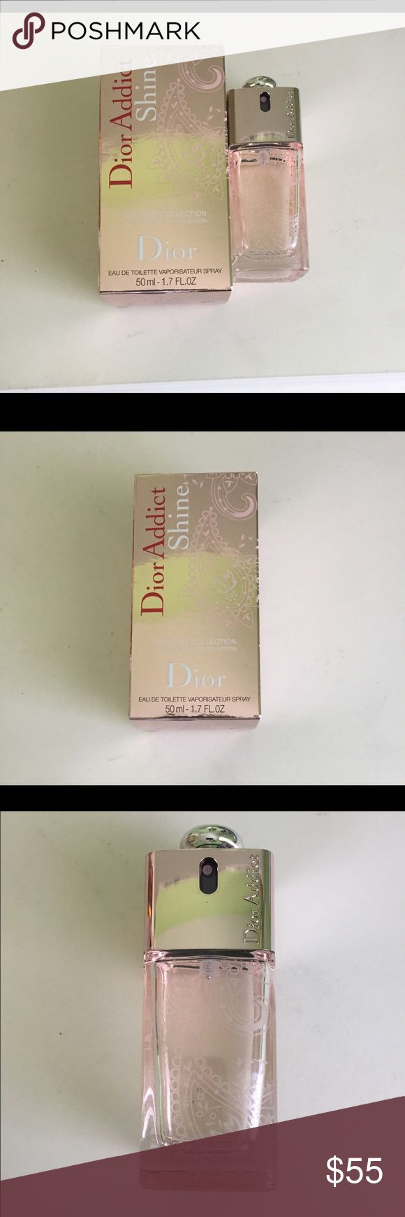 Dior Addict Shine Perfume 1.7oz Brand new Addict Shine eau de toilette by Christian Dior for women. Comes in a 1.7 fl oz glass container that looks beautiful on a vanity. Selling this one as I already have one. Original price at Nordstrom is $80! Most offers accepted. Christian Dior Makeup
