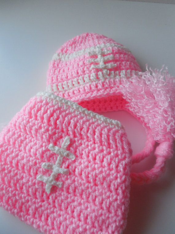 Football Pink Baby Girl Hat and Diaper Cover by ShelleysCrochetOle, $18.00