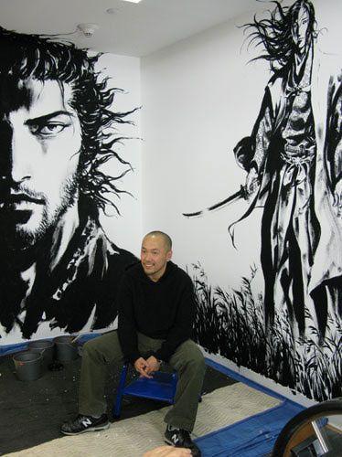 Takehiko Inoue, manga creator of Vagabond completes his mural at Books Kinokuniya in NYC.