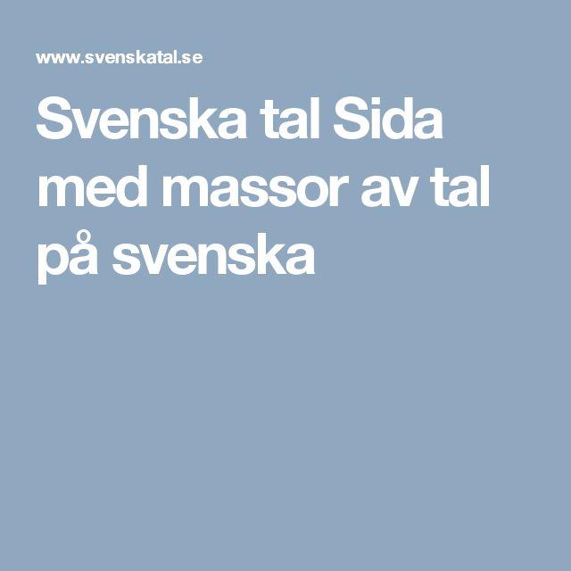 Svenska tal  Sida med massor av tal på svenska