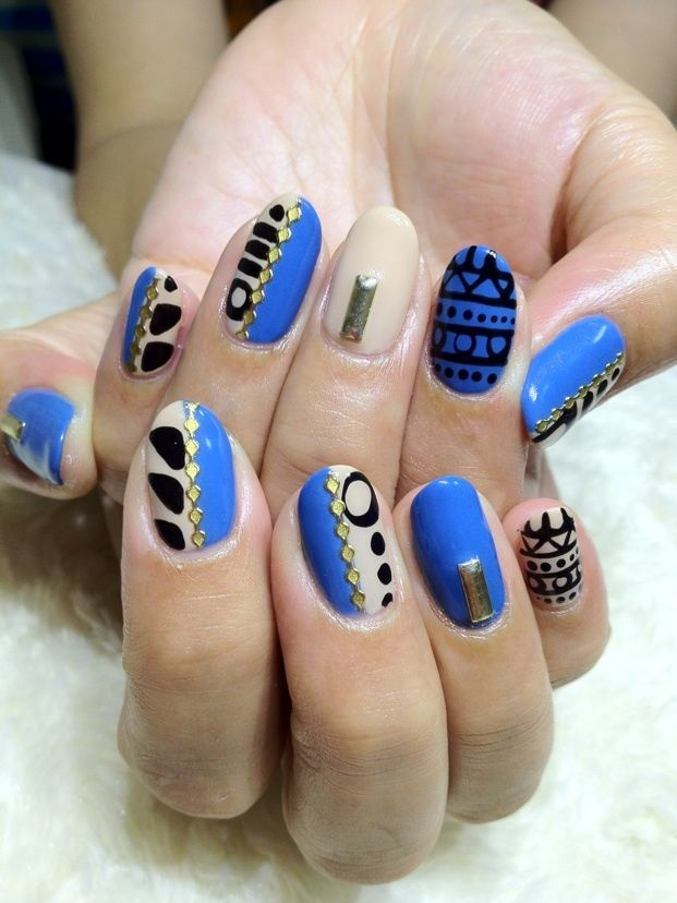 Nail Recipe: Fierce Colbolt Blue Black & Nude Tribal Art Nails with gold stones and stuuds