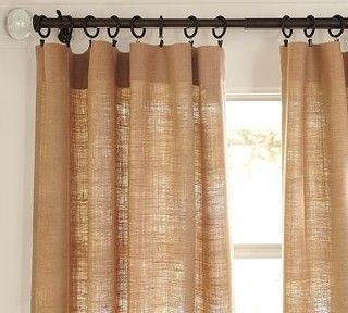 Love Burlap Drapes. Pottery Barn.  living room  dining room kitchen chairs airmchairs mirror mirrors sofa turquoise interior  desing home furniture lamp curtains