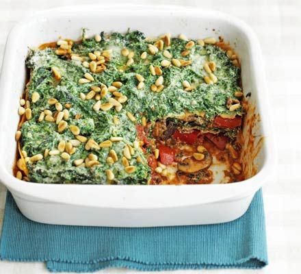 Five-veg Lasagna:      This vegetarian main is a great source of vitamins and iron and a simple way to get your 5-a-day.    via: www.bbcgoodfood.com  www.myrealhealth.com