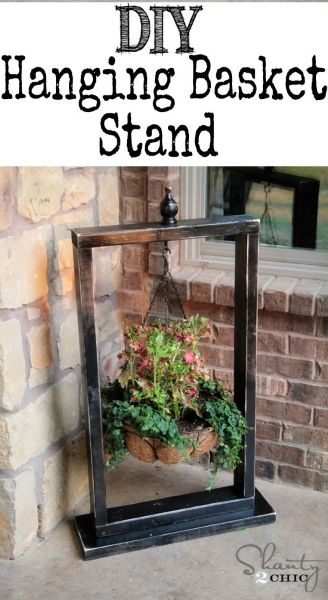 Cute And Easy Hanging Basket Stand. Spruce Up That Door Step Or Patio