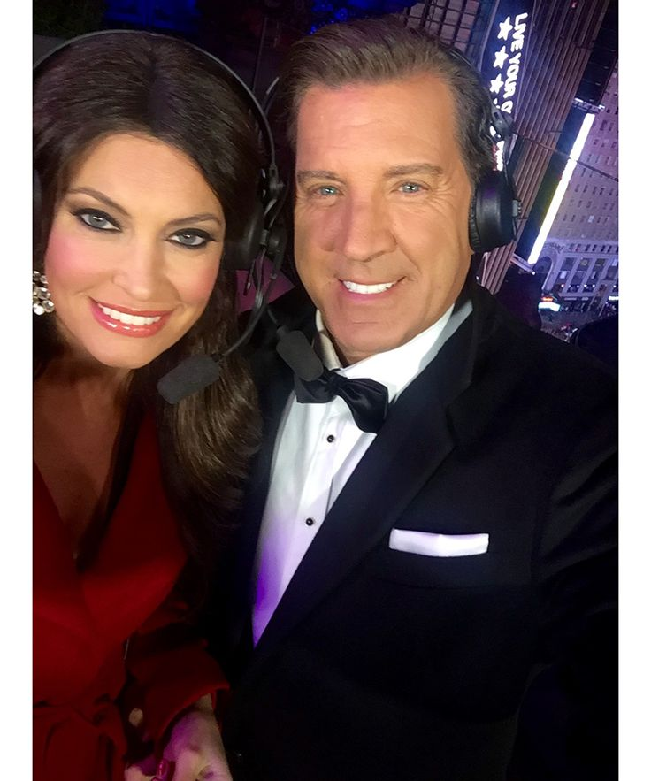 "Fox News anchor Kimberly Guilfoyle helped ring in 2016 on camera. Here, it's 10:30pm. ""Selfie during a commercial break!"""
