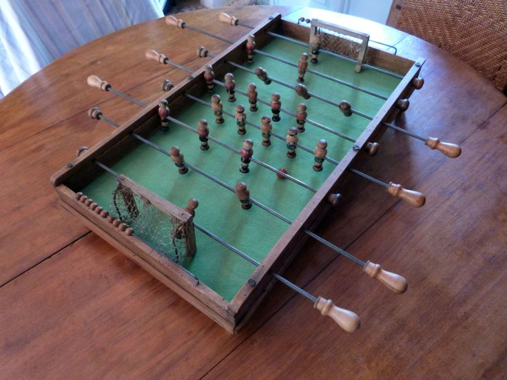Antique French wooden table top football soccer game w goals wooden toy babyfoot baby foot w wooden team players bar game collectible toys by MyFrenchAntiqueShop on Etsy