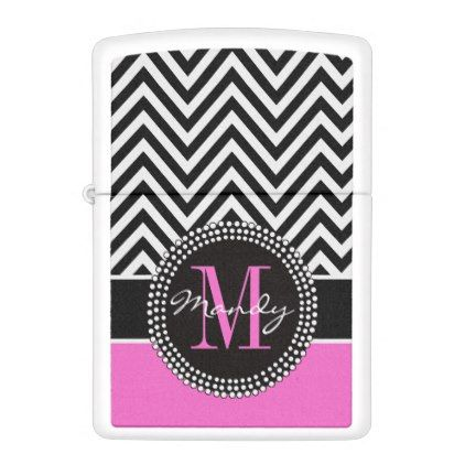 Personalized Hot Pink Black Chevron Monogram Name Zippo Lighter - girly gifts special unique gift idea custom