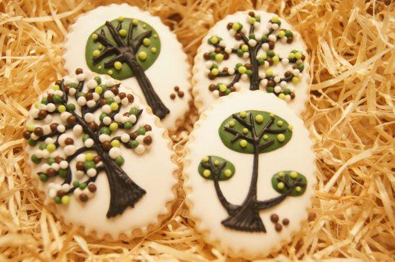 Hand decorated TREE BLOSSOM vanilla cinnamon cookies