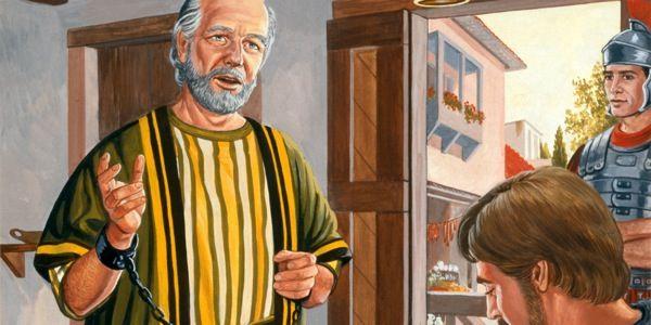 Tandis qu'un soldat romain monte la garde, l'apôtre Paul dicte une lettre à Timothée