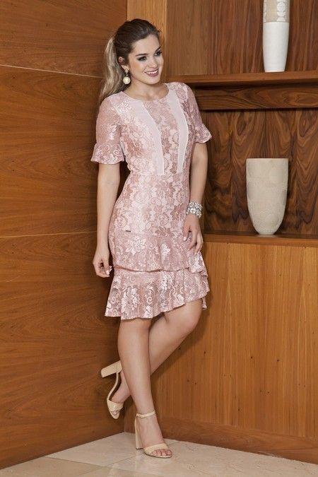 Vestido babados camadas - Kauly in 2019 | Dresses, Dress brokat, Lace dress