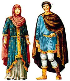 The women on the left has on a common piece of headwear worn in the 12th century. Later in the century, net coverings became more popular and common.