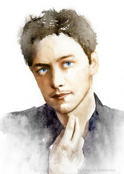 James McAvoy. Watercolours on paper.