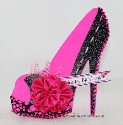 Tarjeta con forma de zapato: Bday Heels, Happy Birthday, Neon Heels, 3D Cards, High Heels, Heels Shoes, Paper Crafts,  Quilling Pens, Shoes 3D