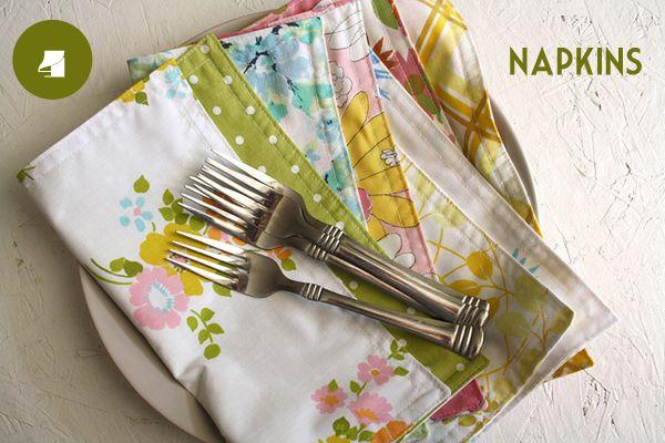 napkins from vintage sheets – Modern Kiddo