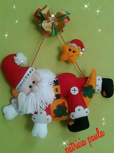 Enfeite de porta papai noel para o natal em feltro; Santa claus felt door