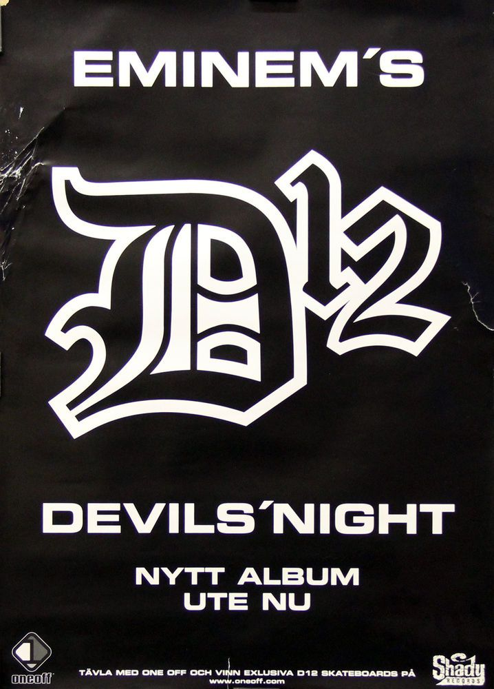 Eminem D12 2001 Devil's Night Original Swedish Promo Poster Link to store: http://stores.ebay.com/Rock-On-Collectibles/Rap-Hip-Hop-Posters-/_i.html?_fsub=10102107&_sid=70220124&_trksid=p4634.c0.m322