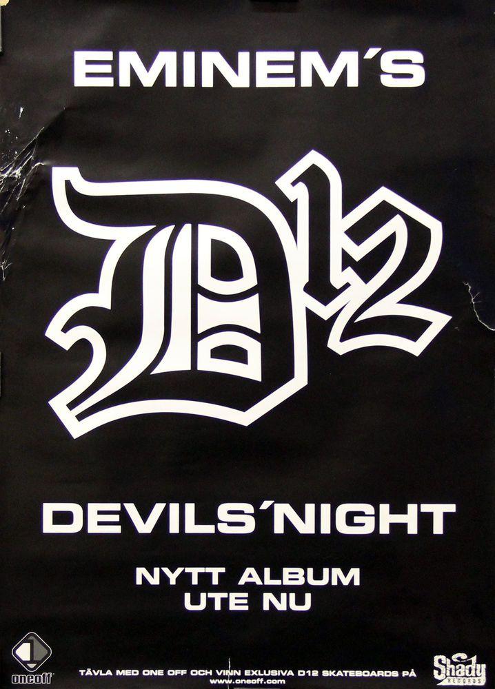 Eminem D12 2001 Devil's Night Original Swedish Promo Poster Link to store: http://stores.ebay.com/Rock-On-Collectibles/Rap-Hip-Hop-Posters-/_i.html?_fsub=10102107&_sid=70220124&_trksid=p4634.c0.m322