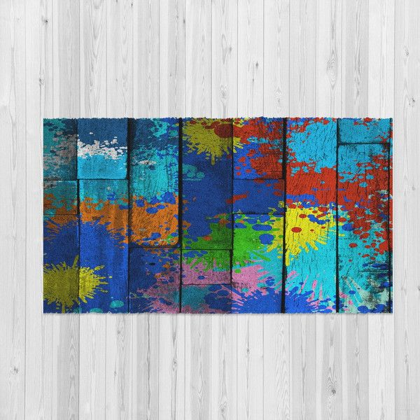 Throw Rugs Area Rug Paint Splatter On Faux Wood The Messy Artist 48