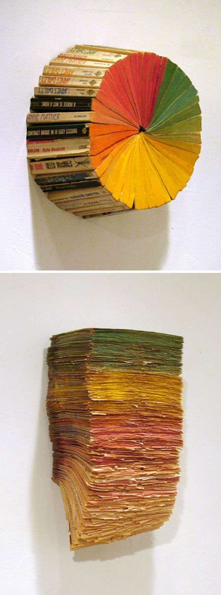 Old books never die... they just start a new chapter.: Book Art, Idea, Bookart, Jonathanwhitfil, Books Art, Colorwheel, Jonathan Whitfil, Colors Wheels Projects, Old Books