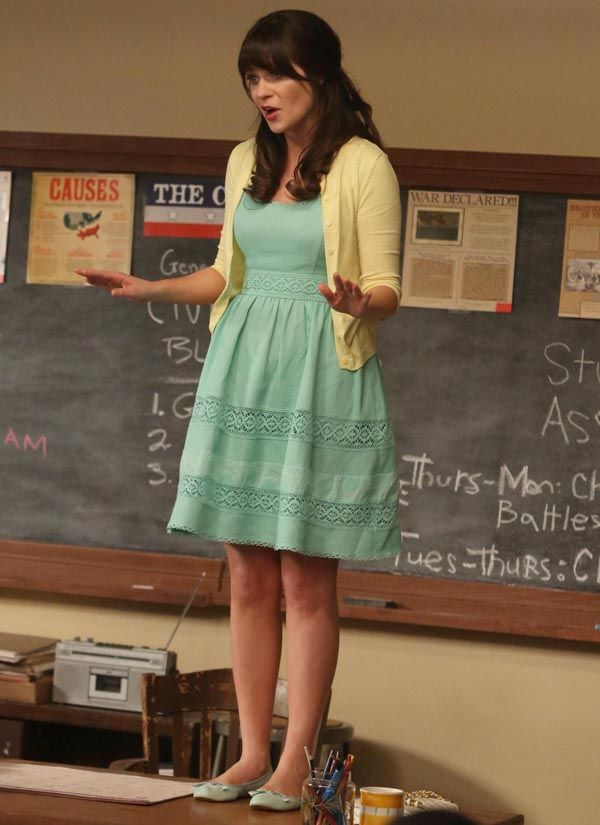 Jess's mint green dress with yellow cardigan on New Girl.  Outfit details: http://wornontv.net/15115/