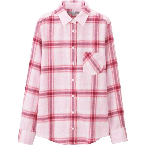 UNIQLO Women Flannel Long Sleeve Shirt (£19) ❤ liked on Polyvore