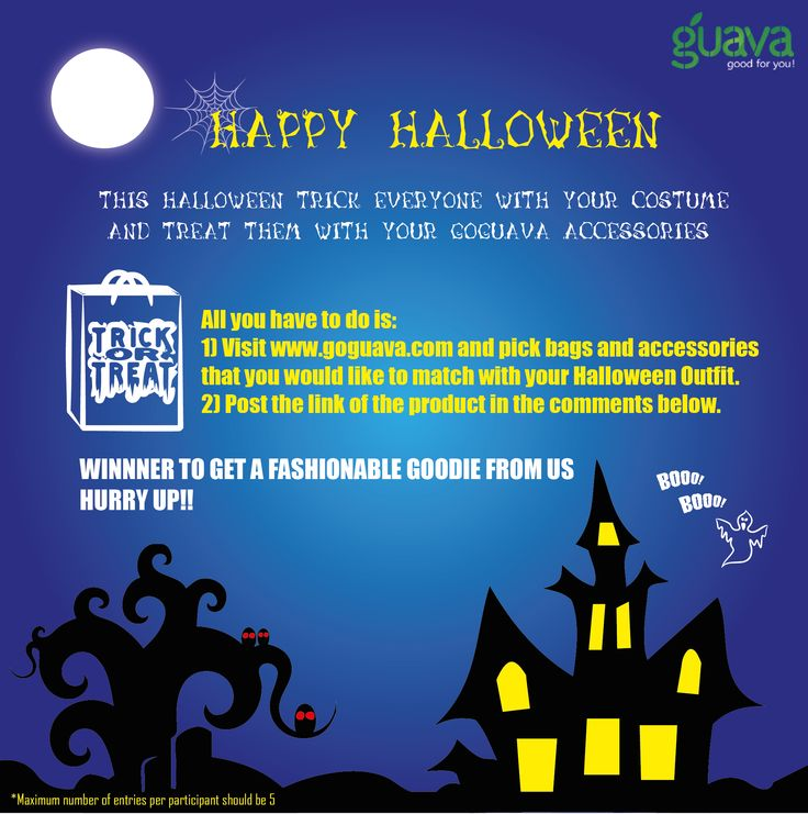 "Happy ""Boo Day""  We wish you a freaky fun filled day with spooky surprises.   CONTEST  Be Spooktacular and Win with Guava Simply follow the steps in the image and be ready to receive a Happy Goodie from us.  Participate here- https://www.facebook.com/goguava  All The Best!  #Contests #Fashion #Women #Halloween"