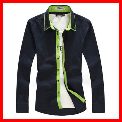 2014 Men's  Big  Tall ( M-5XL)  Size  Fashion Full Cotton  Long Sleeve Shirt With   Contrast  Closure ,G2192 US $28.89