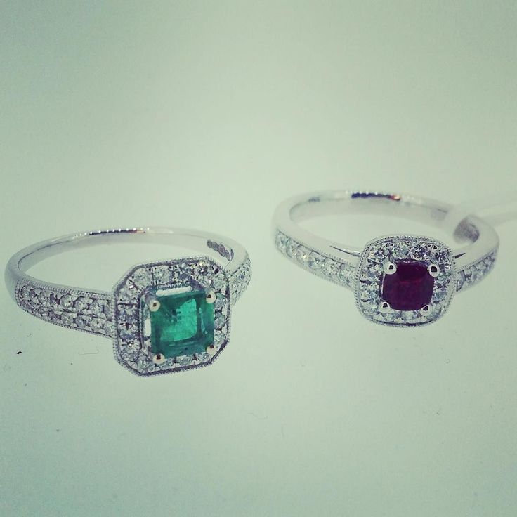 2 new rings in the window. 18ct white gold with diamonds and emerald or platinum with ruby and certificated diamonds. Which one do you like? #engagementring #emeraldrings #rubyring #diamondring #diamondrings http://ift.tt/2kmSjpS