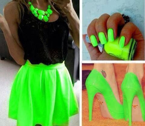 Neon green skirt and accessories
