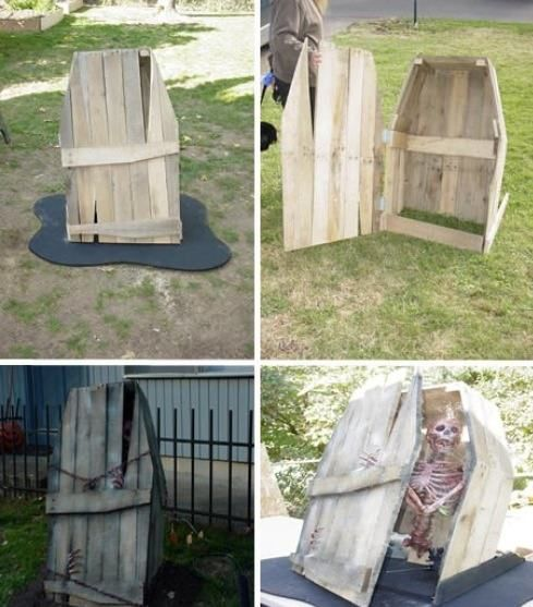 Another coffin made from pallet boards; ideal for Halloween.