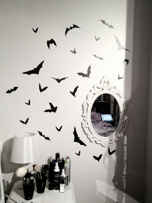 Perfect for a Goth dorm, decorate plain white walls black bat stickers