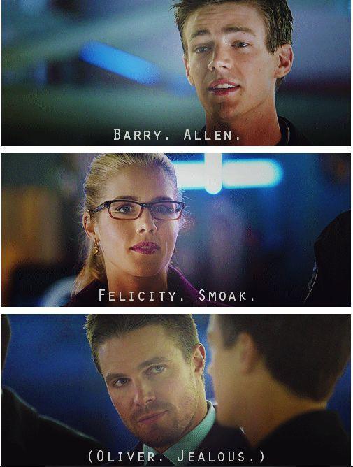 Ha ha- Love it! Arrow - Felicity, Oliver Barry #2.8 #Season2 #Olicity: