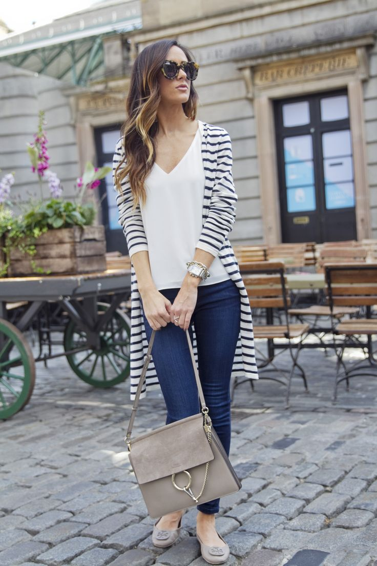 Fall style with striped cardigan