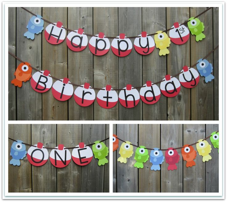 Gone fishing themed banner set happy birthday fish for First birthday fishing theme