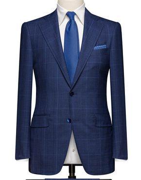 Dark Blue Glencheck. Cloth Weight: 240 gram Composition: 100% Wool.